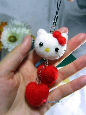 Hand Made OOAK Hello Kitty Accessory - Needle Felted Wool - Red Bow and Hearts !