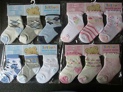 BNWT 3 pairs baby boys girls cotton rich ankle socks - sizes 0-3m,3-6m,6-12m