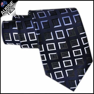 Navy Blue with White Squares Mens Necktie