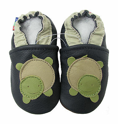 ✿ CHAUSSONS BEBE CUIR SOUPLE CAROZOO NEUF (tortue) ✿