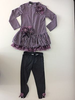 KATE MACK 2 Piece Outfit Top & Leggings Age 2 Years 24m Months Purple & Grey