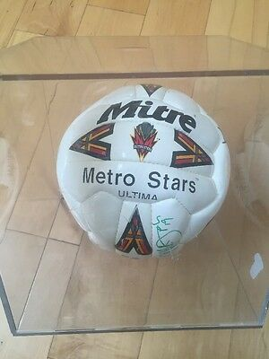 Metrostars Autograph Signed Soccer Ball in case Howard, Ramos, Lalas, Meola more