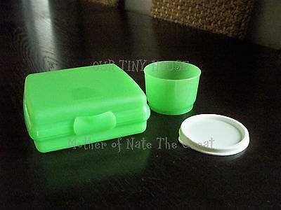 Tupperware Sandwich Keeper and Snack Cup Set Lunch Set Snack cup LIME GREEN NEW
