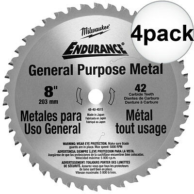 "4pk 8"" 42 Tooth Metal Cutting Saw Blade Milwaukee 48-40-4515 New"