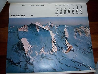 Large 1971 SWISSAIR 12 Month Calendar