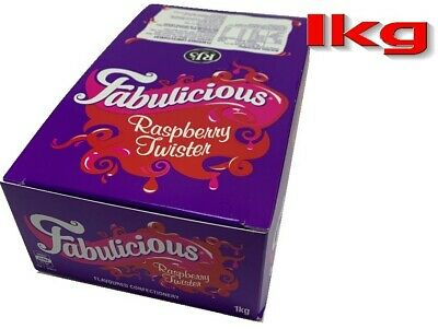 Raspberry Twister Fabulicious 1kg Box 90 Pieces Candy Buffet Party Favors Bulk