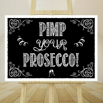 VINTAGE Wedding Sign A4 CHALKBOARD Style Print Poster - PIMP YOUR PROSECCO