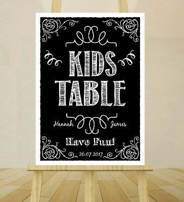 VINTAGE Wedding Sign A4 CHALKBOARD Style Print Poster - KIDS TABLE