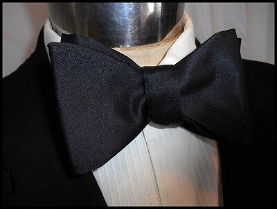 Vintage Black Silk Rayon Adjustable Bow Tie Butterfly Prom Formal Steampunk