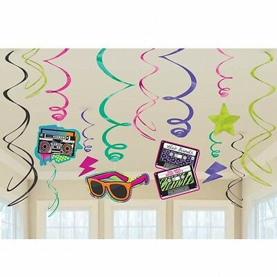 Totally 80's Hanging Decoration Swirls Pack Of 12 - Retro Party