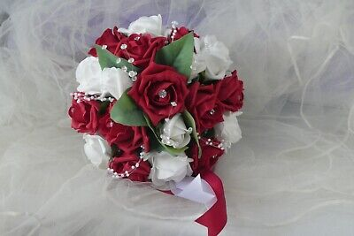 Wedding Flowers Adult Bridesmaid Small Brides  Bouquet In Red And Ivory