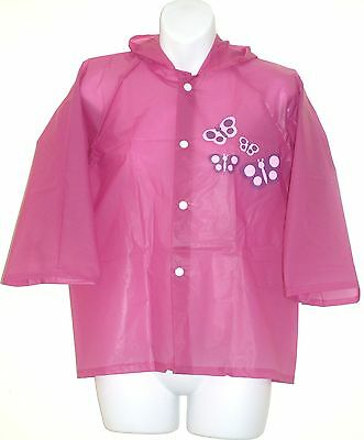 Butterfly Girls' Hooded Raincoat &carry bag [ Chest Size: 96cm Approx ] Purple