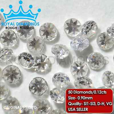 100% Natural Loose Round Single Cut Real 50 Diamonds SI, D-H(White), VG, 0.90MM