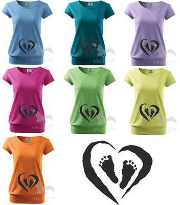 Maternity Pregnancy Printed Funny T-shirt Top Baby Shower Gift Baby Heart Feet