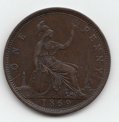 Extremely Rare 1869 Victoria Penny 1d - Nice grade