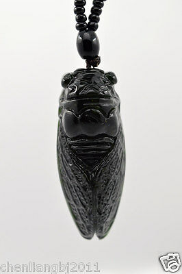 Natural Dark green Hand-carved Chinese Jade Pendant -Free Necklace Cicada