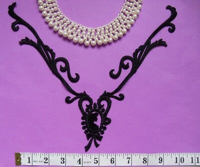 "Antique Vintage Mystery Lady Lace Large Black Collar-10-1/4""(W)"