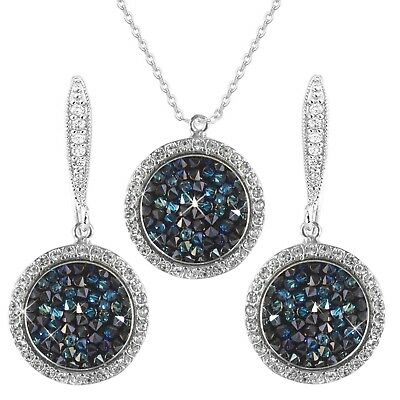Blue Swarovski Element Crystals 14K Silver Solitaire Drops Necklace Earrings Set
