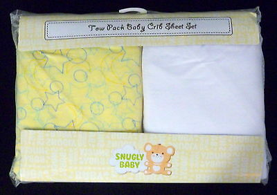SNUGLY BABY Unisex Fitted Crib Sheet Set Printed Yellow & Solid White NIP