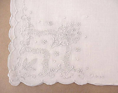 Vintage Fine White Handkerchief Hand Embroidered All Four Corners Madeira