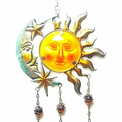 Metal Sun And Moon Windchime With Hanging Bells.