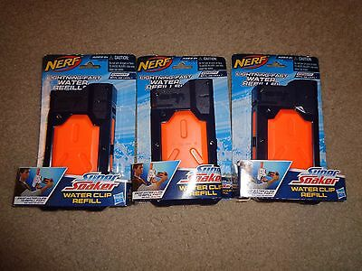 Lot 3 NEW NERF Super Soaker 10 oz Water Clip System Refill Hasbro 29248 Canister
