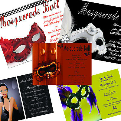 Personalised Masquerade Party Birthday Invitations x 50 | Various Designs