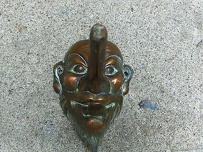 Vintage Bronze Wall Coat Hanger Hat Rack Figural Metal Decor