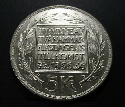 Sweden - 5 Kronor Large Silver Coin (1966) aUNC