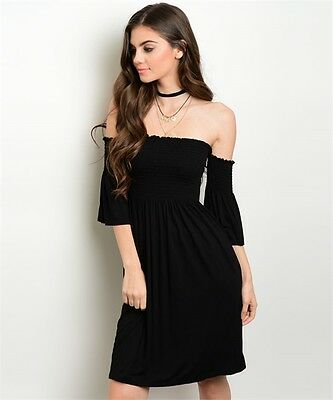 Made in USA GILLI Black Off-the-Shoulder Party Beach Cocktail Dress M S L