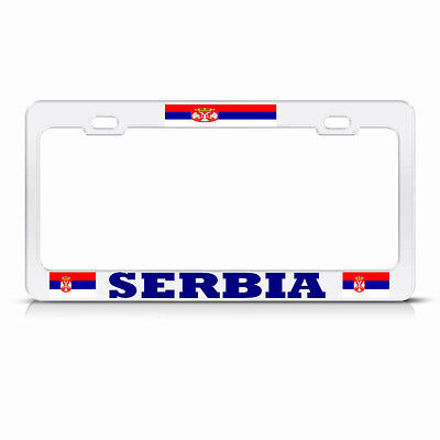 NEW SERBIAN FLAG SERBIA HOT PINK Metal License Plate Frame Auto SUV Tag Holder