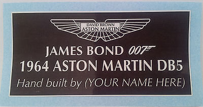 """James Bond 007 build your own """"PERSONALISED"""" ASTON MARTIN DB5 Show case sticker"""