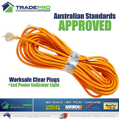 Extension Lead 25M Power Cable Cord Heavy Duty 10A 25Mtr High Vis AS Approvd