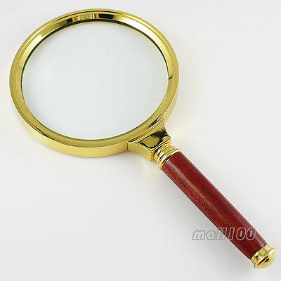 Handle Magnifier Magnifying Glass Gold Metal Lens Detachable Reading 8X 7X
