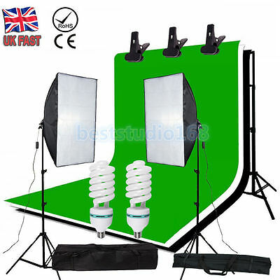 Photography Studio 1350W Softbox Backdrops Continuous Lighting Light Stand Kit