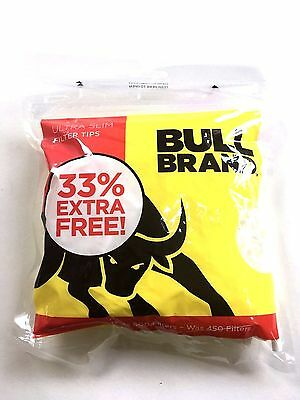 1 2 4 10 Bull Brand Ultra Slim Filter Tips 600 Tips In A Bag Resealable