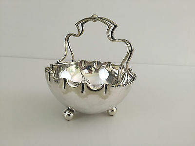 Antique Edwardian silver plated basket / candy dish Hand Soldered England 1910's