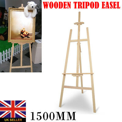 PINE WOOD WOODEN STUDIO EASEL 5ft (1500MM HIGH) ARTIST ART CRAFT DISPLAY