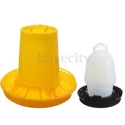 2Pcs Chicken Water Drinker Feeder Automatic Chook Poultry Bird Quail 250ml+500g