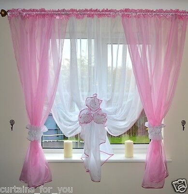 10 Colours Ready Made Voile Net Curtains 2 Colours Flowers Tie Back For You