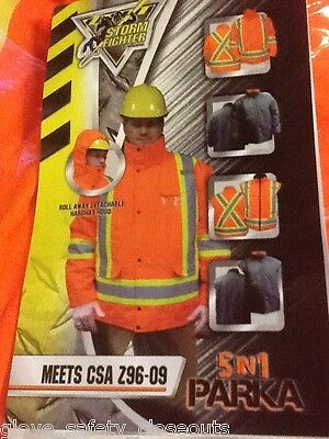 New Xl 5 In 1 Winter Parka Safety Hi Vis Csa Approved Storm Fighter