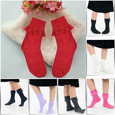 Girls Coloured Frilly Socks Cotton Rich School Fancy Lot