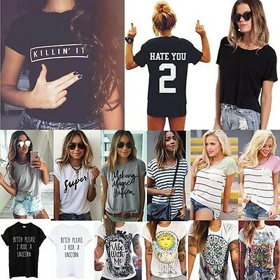 New Fashion Women Summer Casual Basic T Shirt Lady Short Sleeve Blouse Tank Tops