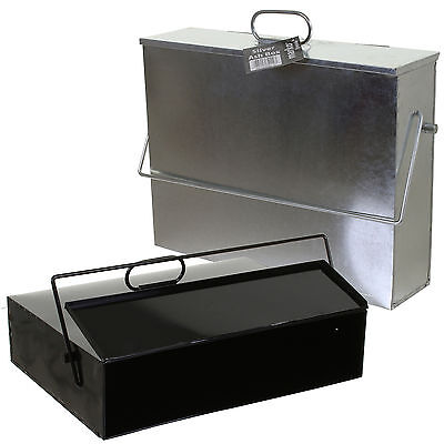 Galvanised Metal Hot Ash Box Carrier Black Silver Fireplace Bucket Bin Container