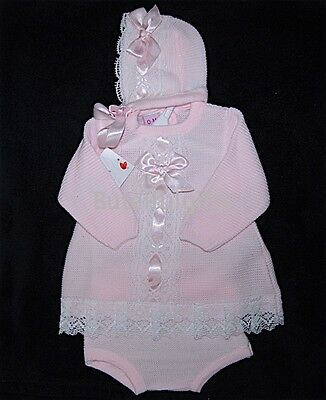 Girls Spanish Pink Slotted Ribbon/Lace 3 Pce Knitted Set NB 0-24 Month