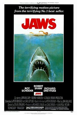 """JAWS Movie Poster [Licensed-NEW-USA] 27x40"""" Theater Size (1975) Style A"""