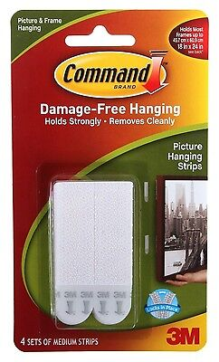3M Command Medium Adhesive Strips Damage Free Photo Picture Frame Poster Hanging