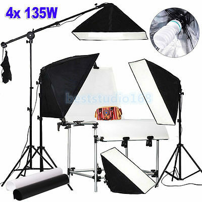 2700W Photography Studio Continuous Lighting Softbox Kit Boom arm Shooting Table