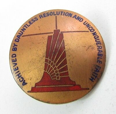 Vintage Dauntless Resolution Unconquerable Faith Pin Back.