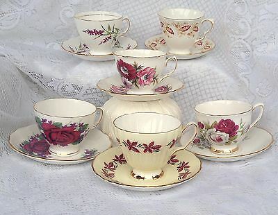"""Lot of 6 Vintage Tea Cup/Saucers great for Display / """"Mad Hatter Tea Party""""  (22"""